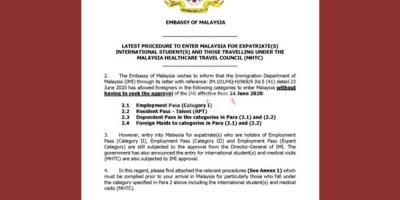 马来西亚大使馆最新入境公告,6月24号版本